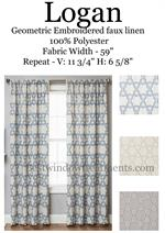 Geometric embroidered linen drapery