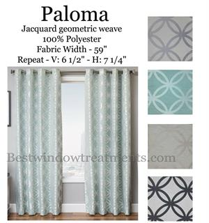 paloma Jacquard Geometric Circle curtains in blue, grey, blackout option