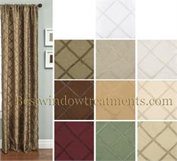 Paramount Diamond Gimp Faux Silk Curtains and Drapes with Blackout lining