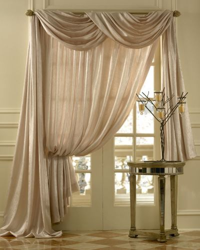 Beige french curtains foyer