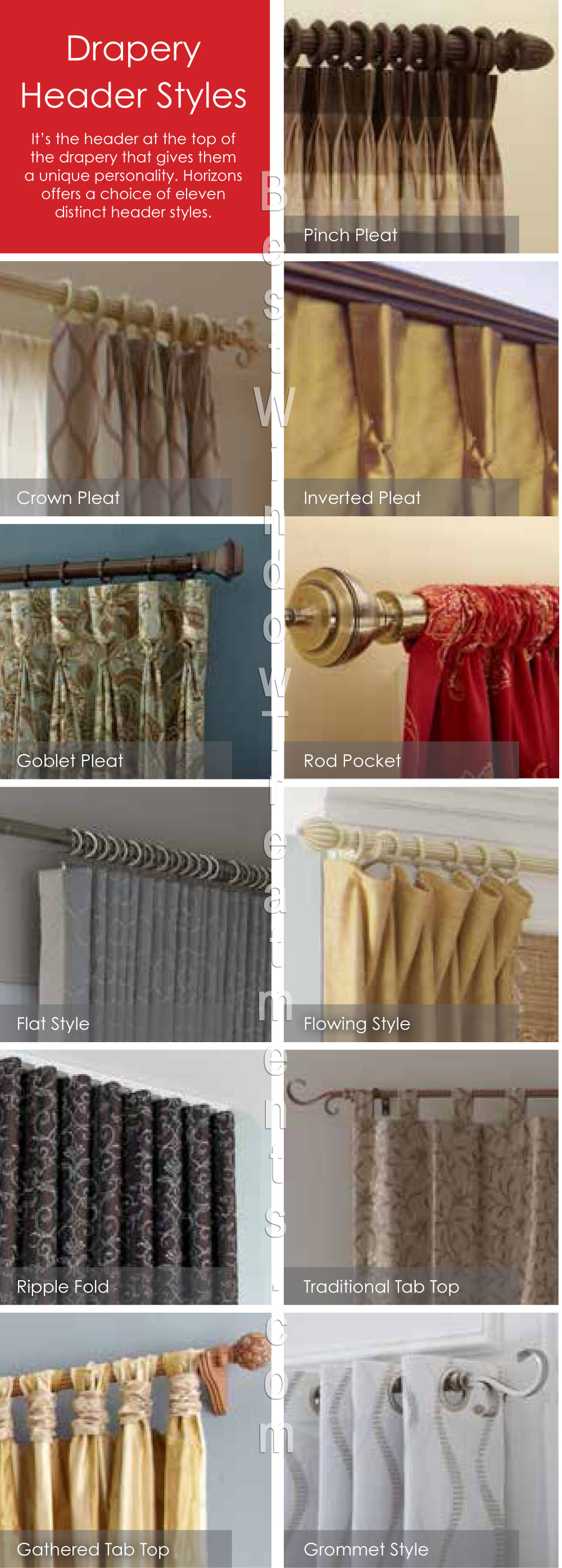 Types of curtains for Different styles of drapes