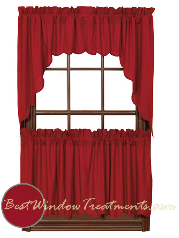 Red Swag Kitchen Curtains Rooster Swag Kitchen Curtains