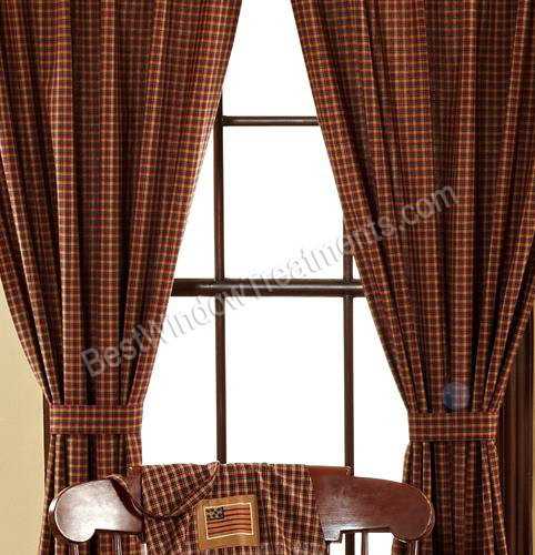 Red Curtains red checkered curtains : Patriotic Plaid Curtains