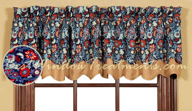 Indigo Double Scalloped Valance