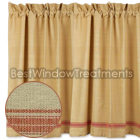Bar Harbor Ticking Coral Tier Curtains