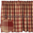 Millbrook Check Barn Red Tier Curtains