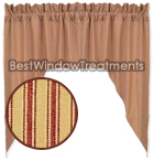 York Ticking Barn Red Swag Curtains