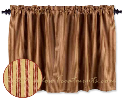 York Ticking Red Tier Curtains Bestwindowtreatments Com