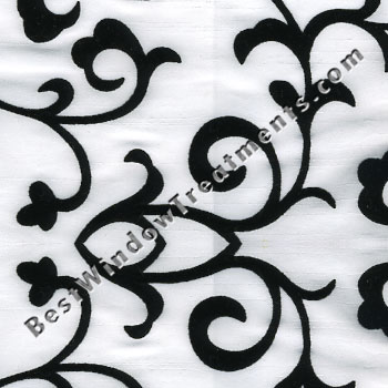 Delano Faux Silk Flocked Scroll Curtain Drapery Panels