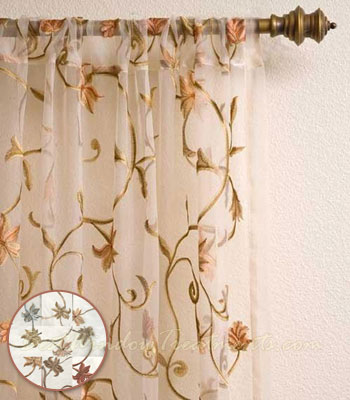 Eden Sheer voile Curtain Panel available in 9 colors