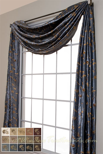 Belvedere Scarf Swag Window Topper In 14 Colors
