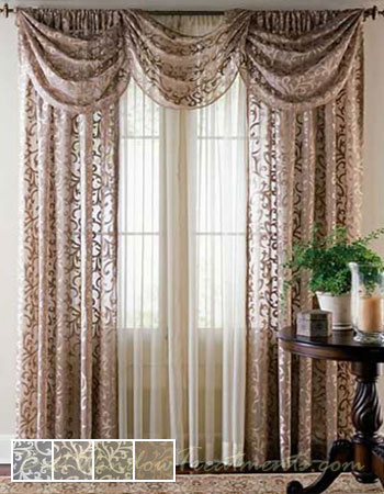 Bordeaux Lace Sheer Curtain Drapery Panels