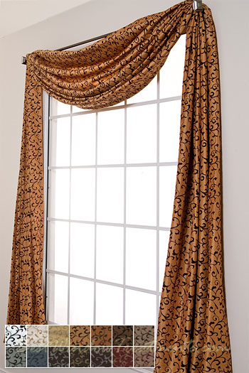Delano Flocked Scroll Scarf Swag Window Topper