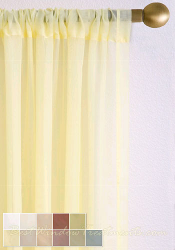 Voile Plain Semi Sheer Curtain Panel Available In 11 Colors