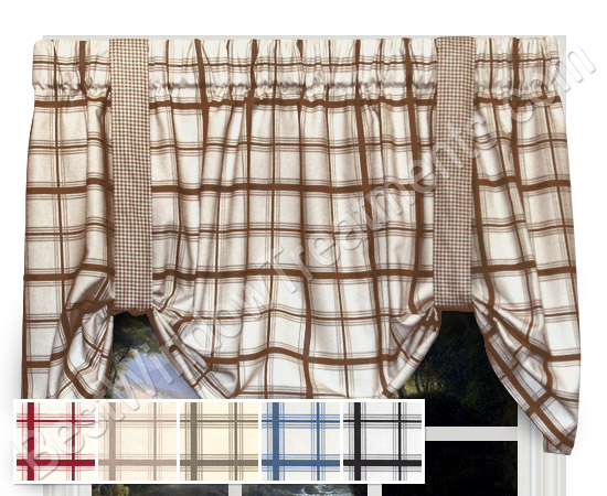 Logan Large Plaid Tie Up Valance Window Treatments