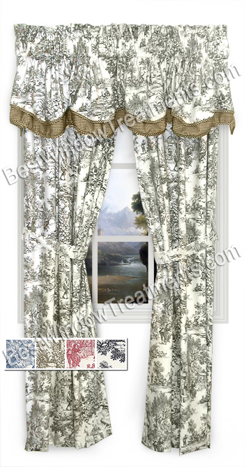 Victorian Toile Curtains With Tie Backs