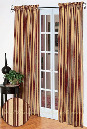 Southern Garnet Striped Curtain Panel Pair