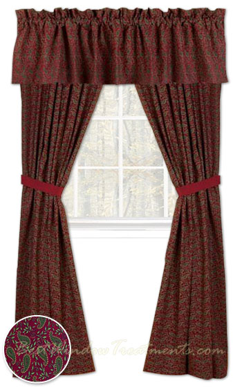 Prairie Paisley Curtain Panels With Tie Back