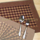 Gingham and Mini-Check Table Runner in Burgundy