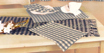Big Check Table Runner in Navy