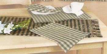 Big Check Table Runner in Hunter Green