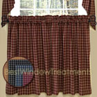 Williamsburg Plaid Tier Curtains in Mustard, Colonial Blue, Black, or Barn Red