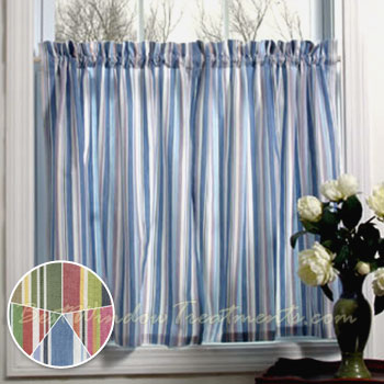 Cottage Stripe Tier Curtains Available In 5 Colors