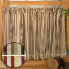 Celebration Stripe Tier Curtains in Taupe or Brick Stripes