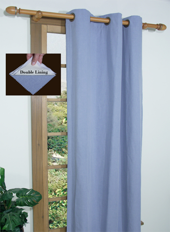 Homespun Curtain Panel available in Cornflower Blue, Harvest, Linen, Spanish Moss and Sienna