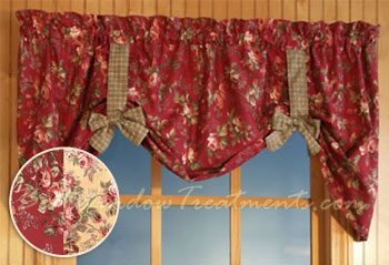 Roses And Bows Valance In Red Or Yellow