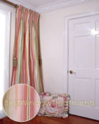Thai Silk Pleated Drapery Curtain Panel in Stripes of Spring