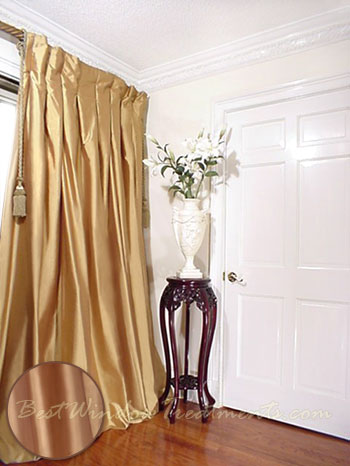 Well-liked Thai Silk Pleated Draperies in Polished Gold  ZY74