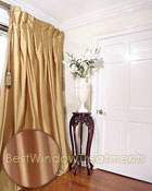 Thai Silk Pleated Drapery Curtain Panel in Polished Gold