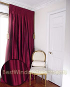 Thai Silk Pleated Drapery Curtain Panel in Deep Burgundy