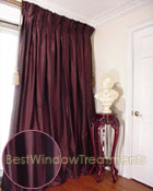 Thai Silk Pleated Drapery Curtain Panel in Delectable Chocolate