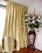 Thai Silk Pleated Drapery Curtain Panel in Two-tone Solid Gold and Ivory