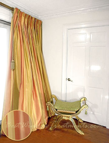 Thai Silk Pleated Draperies In Stripes Of Sunshine