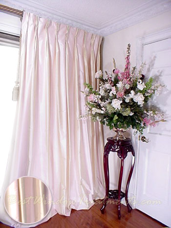 Thai Silk Pleated Draperies In Two Tone Pale Pink And
