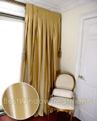 Thai Silk Pleated Drapery Curtain Panel in Solid Gold