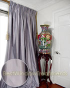 Thai Silk Pleated Drapery Curtain Panel in Steel Diamond Blue
