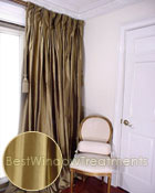 Thai Silk Pleated Drapery Curtain Panel in Radiant Tobacco Green