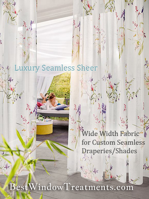 Contact us for quote on custom draperies, shades and top window treatments using luxury extra wide seamless sheer fabric. Washable! NFPA 701 Fire/Flame retardant options available for commercial, interior designers, architect or residential clients.