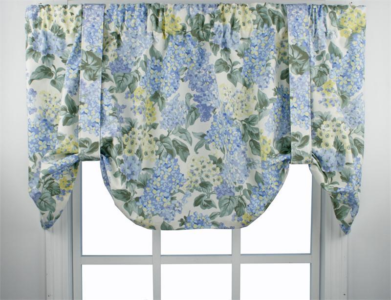 Hydrangea Bloom Tie Up Valance Window Treatments