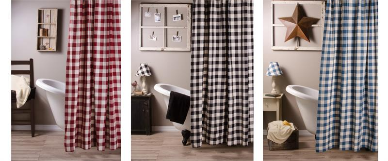 Buffalo Check Shower Curtain In 3 Colors
