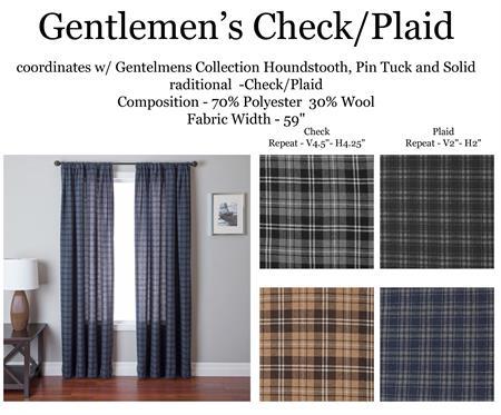 Gentlemen Check Plaidcurtains In Gray Blue Brown Cream Color