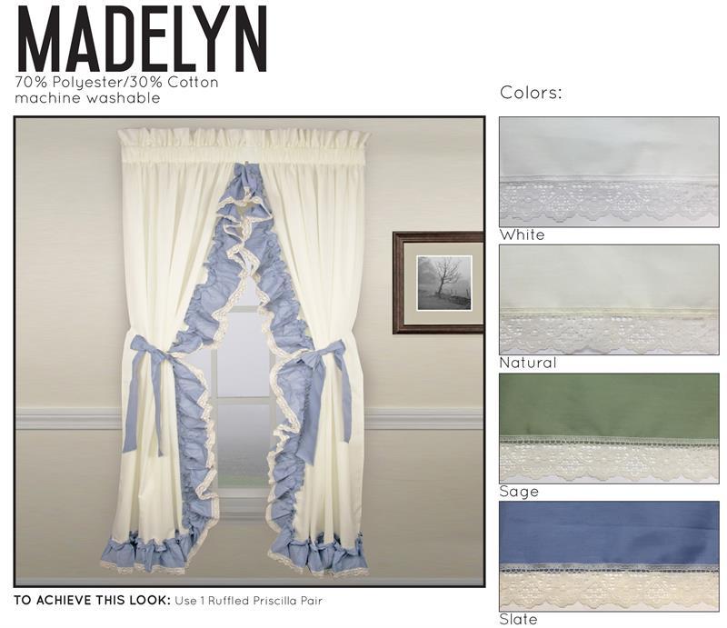 Madelyn Ruffled Priscilla Curtains, Blue Priscilla Curtains