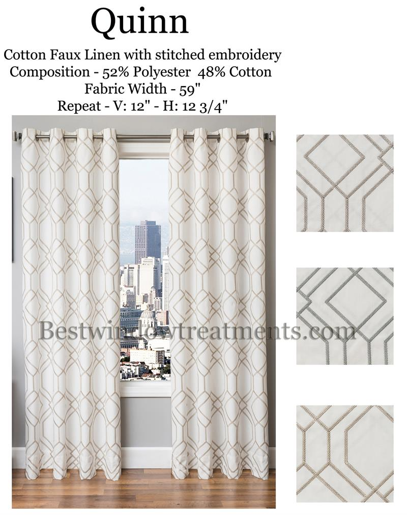 Quinn Linen Curtains Modern Or Vintage Art Deco Style Bestwindowtreatments Com