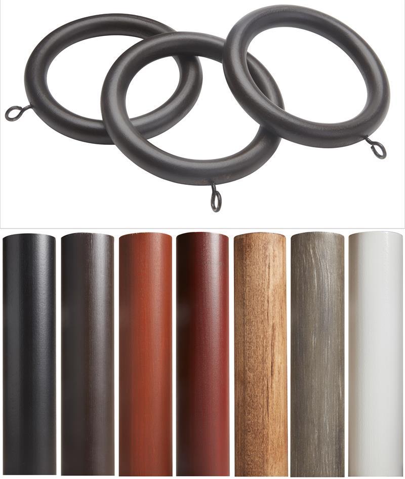 Sedona Wooden Curtain Rod Rings 10 Pack
