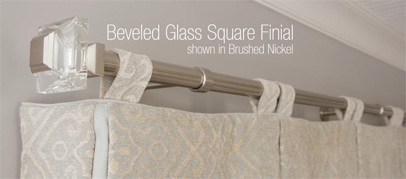 Square Beveled Glass 1 1 8 Dia Custom Metal Curtain Rod Set