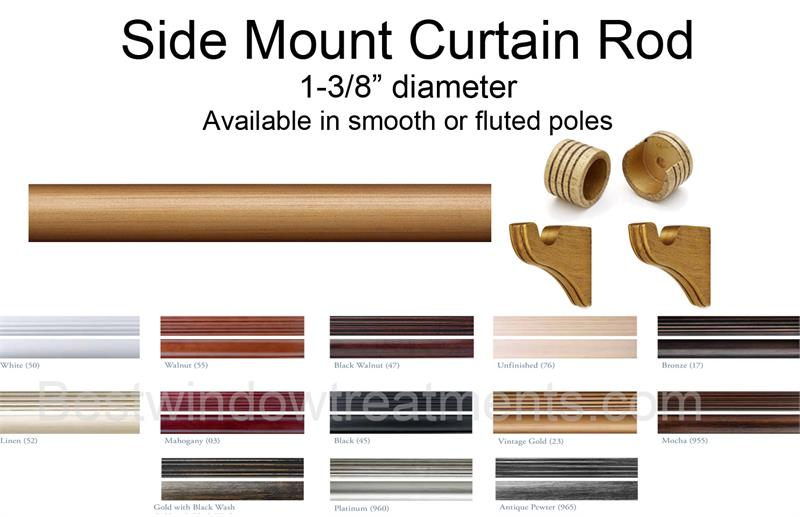 Sidemount Custom Select Wood Rod Set, How To Select Curtain Rod Size